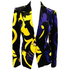 VERSACE Size 6 Black Gold Yellow & Violet Purple Floral Velvet Blazer