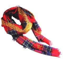 Chanel Silk Cashmere Tartan Shawl Stole Wrap XL