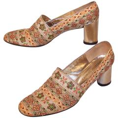 1960's Charles Jourdan Gold Metallic Brocade Fabric Shoes
