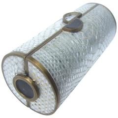 Sleek Silver Metallic Python Cylinder Clutch Bag Designed by R & Y Augousti
