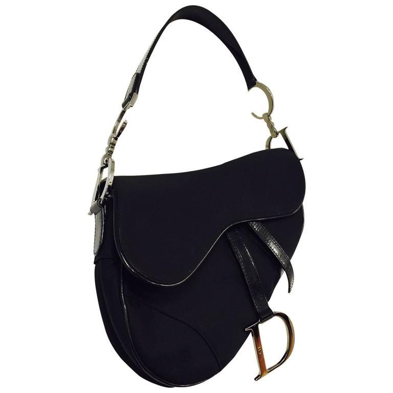 bb3aa53d08b Christian Dior Black Patent and Nylon Saddle Bag For Sale at 1stdibs