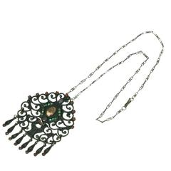 Mat'l Style Sterling and Stone Pendant Necklace