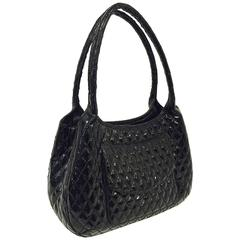 Eric Javits Black Patent Diamond Quilted Shoulder Bag With Tassel