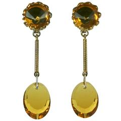 Louis Rousselet Faux Citrine Earrings