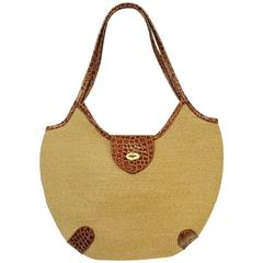 Eric Javits Tan Jute Hobo Bag With Crocodile Embossed Leather Trim
