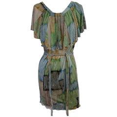 M Missoni Multi Pastel Stripes Jersey Ruffle Top Dress - 6