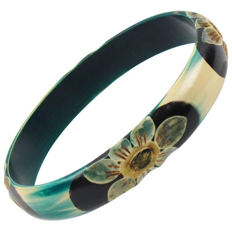 French Art Deco Celluloid Carved Bracelet Bangle Teal Floral Design circa 1925s For Sale