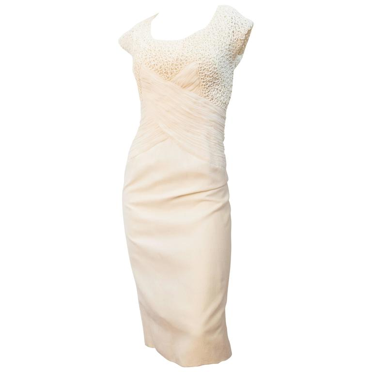 60s Cream Silk Sheath Dress with Rouched Bodice
