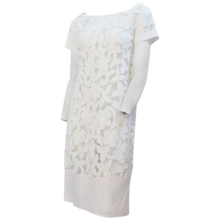 60s White Irish Linen Cutout Crochet Lace Shift Dress