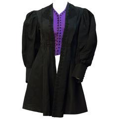 Edwardian Black and Purple Silk Jacket