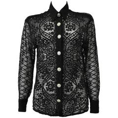 Exceptional Gianni Versace Couture Black Lace Shirt