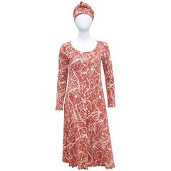 1970's Diane Von Furstenberg Splatter Print Knit Dress With Scarf Sash