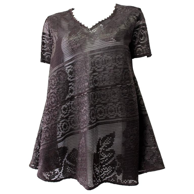 Exceptional Flared Gianfranco Ferre Chocolate Brown Lace Tunic Top