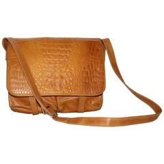 Vintage Fendi Crossbody Messenger Ban in Brown Leather Style Crocodile