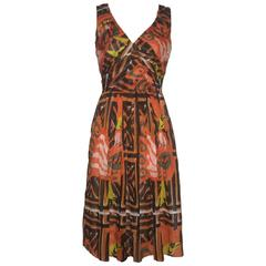 Prada Orange Pleated Tribal Print Cotton Sleeveless Dress
