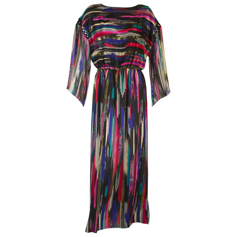Vintage Hanae Mori  Colorful Metallic Silk Chiffon Kimono Sleeve Dress with Tags 1