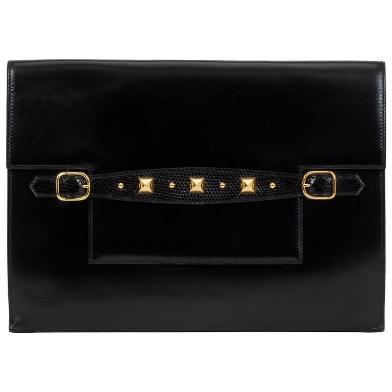 1984 Hermès Black Box Calf & Lizard Clutch Bag 1