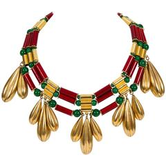 YSL Tribal Drop Gold Red Green Necklace