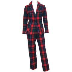 Preppy & Punk C.1970 Classic Pendleton Tartan Plaid Wool Pant Suit