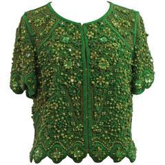 Escada Green Silk Heavily Beaded Jacket/Top - 36