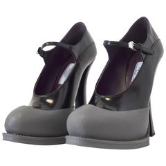 A/W15 Prada Black Patent Leather & Grey Rubber Mary Jane Curved Heels Size 38.5
