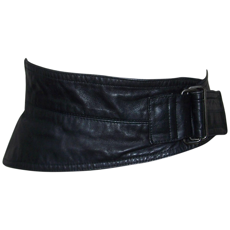 1980 s calla italian black leather asymmetrical corset