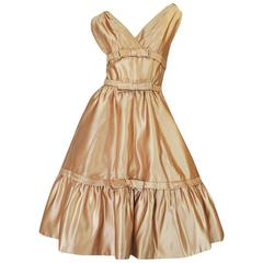 1950s Demi-Couture Christian Dior Gold Silk Bow Dress