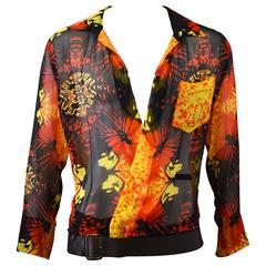 90s Jean Paul Gaultier Silk Butterfly Shirt with Detachable Leather Belt