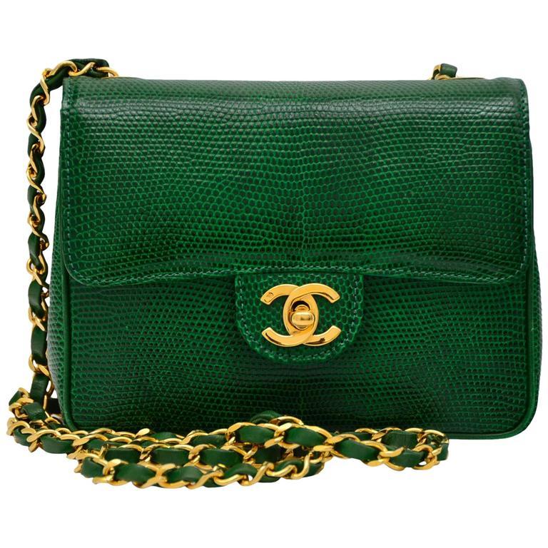 Chanel Rare Vintage Emerald Green Lizard Mini Handbag