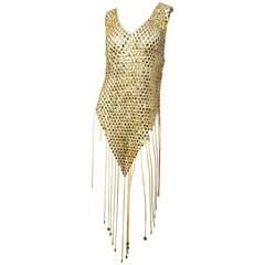 1960s Gold Paco Rabanne Mini Fringe Dress & Hat