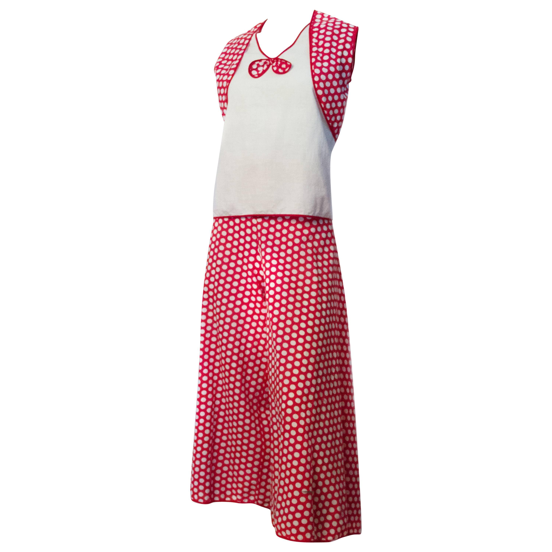 30s Red & White Polka Dot Cotton Lounge Set with Palazzo Pants