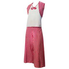 30s Red & White Polka Dot Cotton Lounge Set with Palazzo Pants
