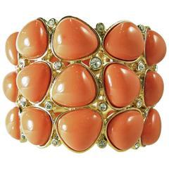 Signed Kenneth Jay Lane Chunky Faux Coral Enamel Clamper Bracelet