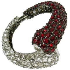 Kenneth Jay Lane Clear and Ruby Red Clamper Bracelet
