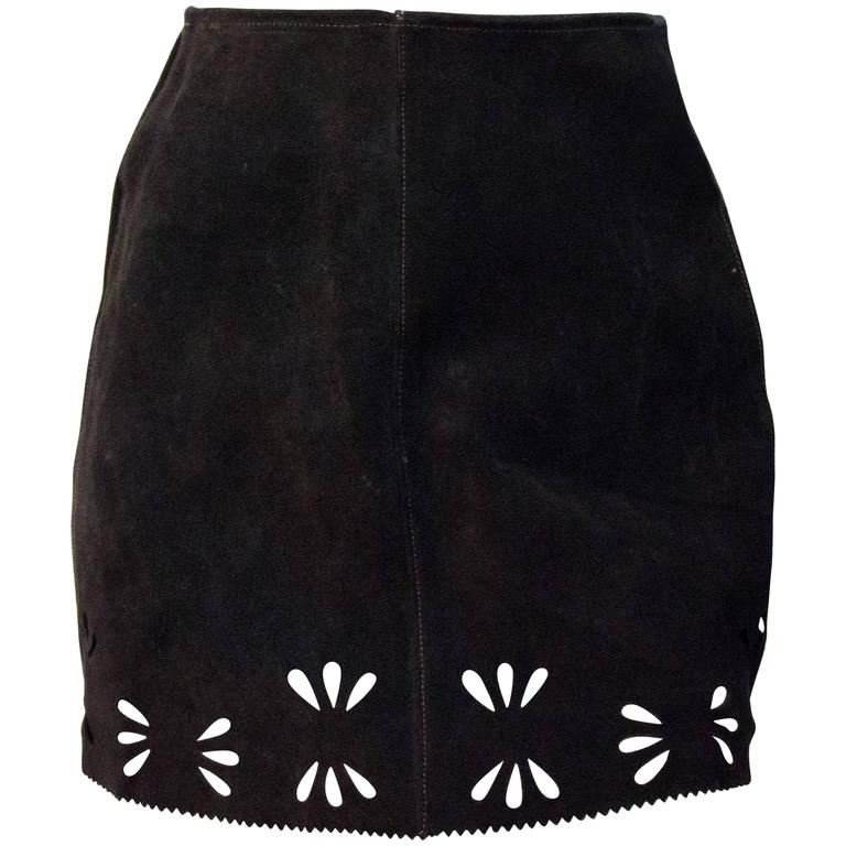 60s Brown Suede Mini Skirt with Cut Outs  1