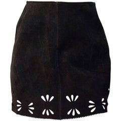 60s Brown Suede Mini Skirt with Cut Outs