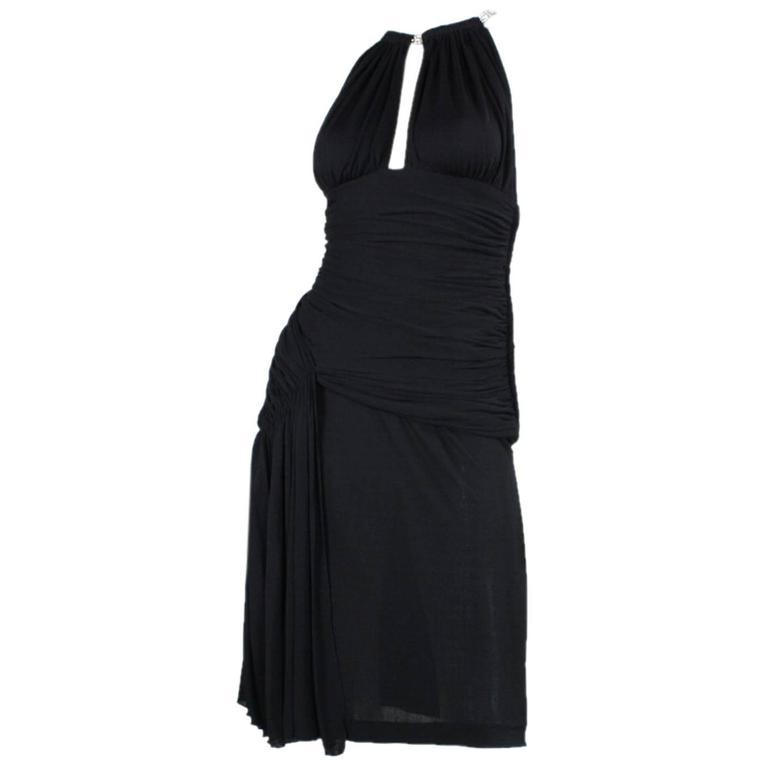 1980's Vicky Tiel Ruched Black Cocktail Dress For Sale