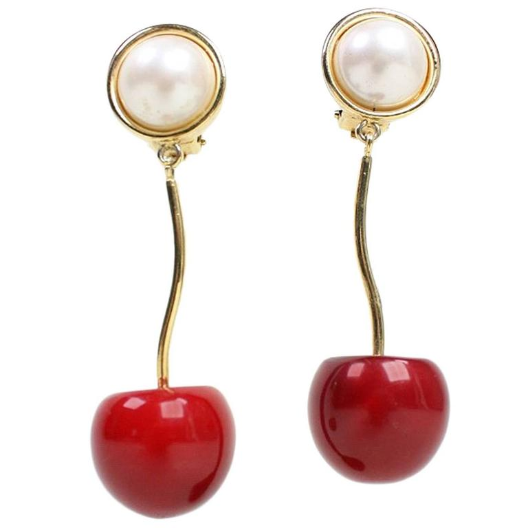 Valentino Cherry & Pearl Earrings 1