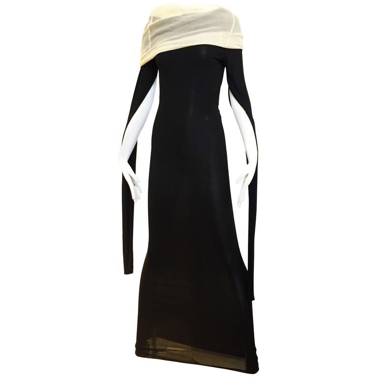 90s Rare Jean Paul black knit dress with long sleeve
