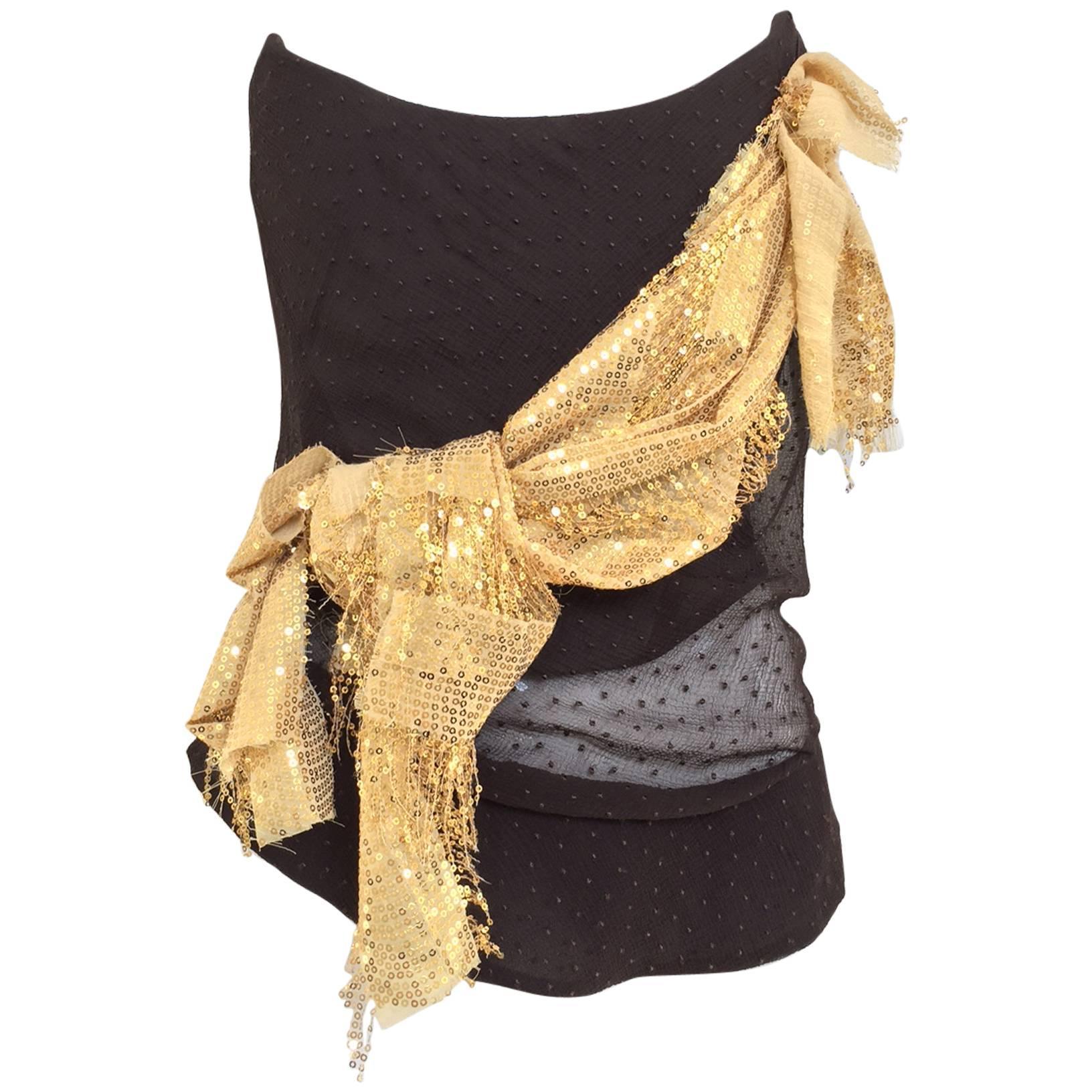 Vintagea  Vivienne Westwood Brown and Gold Silk Bustier