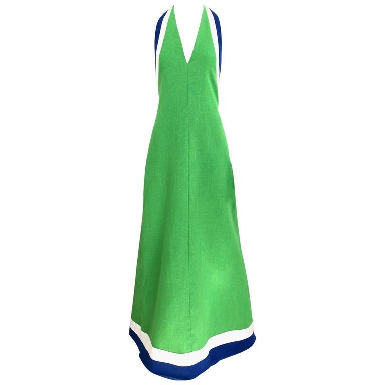 70s Green linen halter maxi dress 1