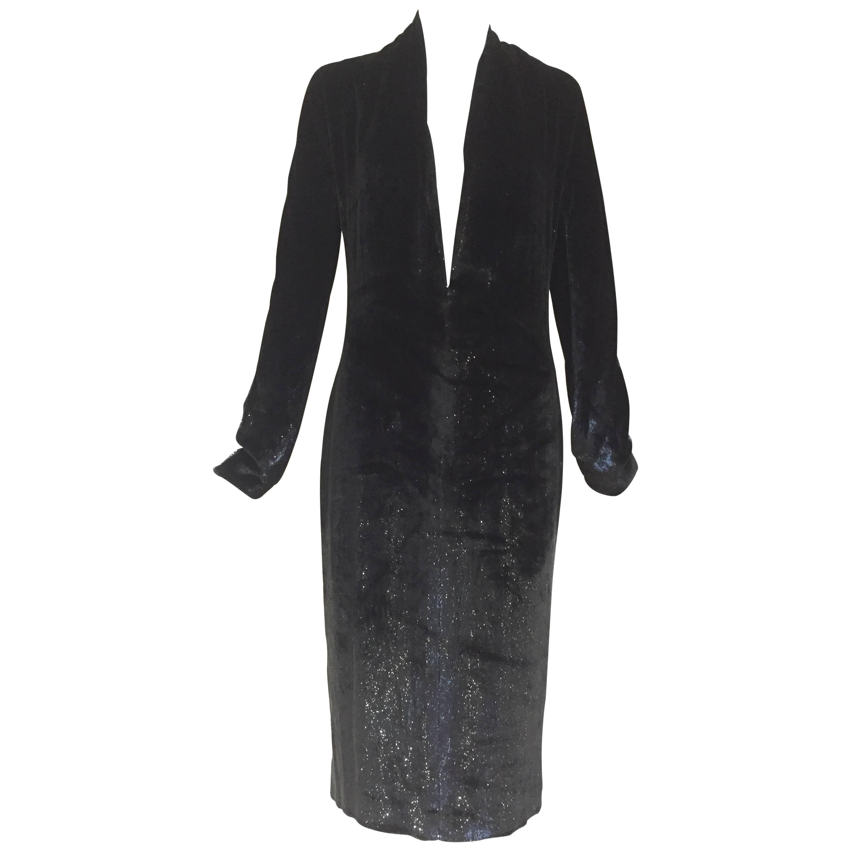 Yves Saint Laurent by Tom ford black silk velvet low cut dress