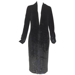 Yves Saint Laurent by Tom ford black silk velvet low cut dress