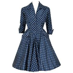 1954 Christian Dior Original Polka-Dot Blue & White Silk Circle-Skirt Dress