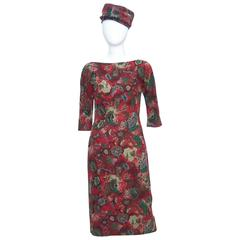 1950's Suzy Perette Abstract Paisley Print Dress With Bustle Kick Pleat & Hat
