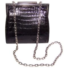 1990's Calvin Klein Black Alligator Biker Chic Handbag With Chunky Silver Chain