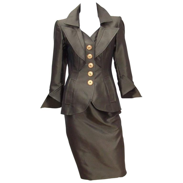 Opulently Goth 1980's Christian LaCroix Bronze Sateen Dress Suit For Sale