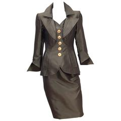 Opulently Goth 1980's Christian LaCroix Bronze Sateen Dress Suit