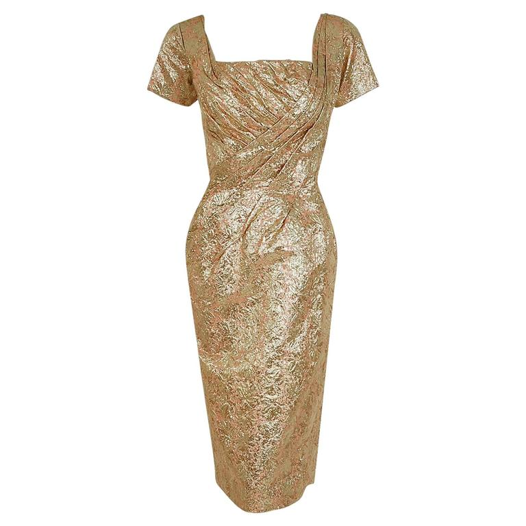 1950's Ceil Chapman Metallic-Gold Lame Ruched Hourglass Cocktail Dress w/Tags For Sale