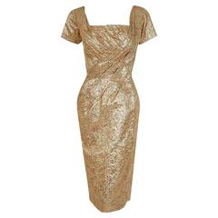 1950's Ceil Chapman Metallic-Gold Lame Ruched Hourglass Cocktail Dress w/Tags